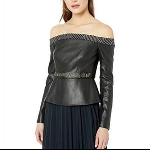 NWT BCBG off the shoulder faux leather top size S
